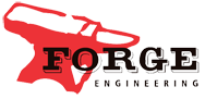 forge engineering inc logo of a red anvil with the words forge engineering in black letters in Alaska
